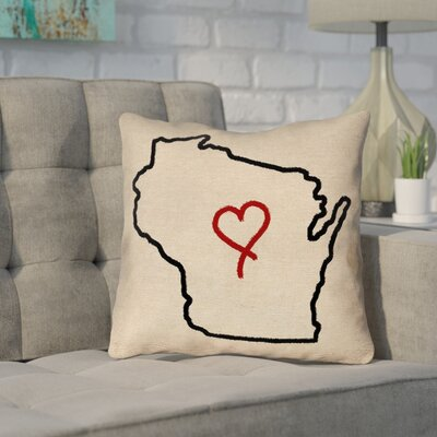 Sherilyn Wisconsin Love Outline Outdoor Throw Pillow Size: 18 x 18