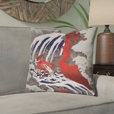 Yasmina Modern Horse and Waterfall Throw Pillow Size: 14 x 14