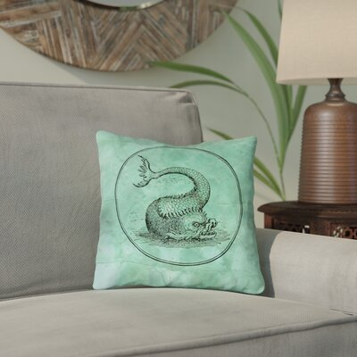 Carpenter Green Vintage Sea Monster Twill Double Sided Print Throw Pillow