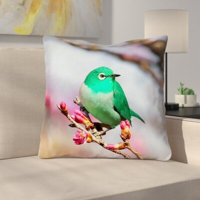 Roughton Cottage Double sided Green Bird Throw Pillow