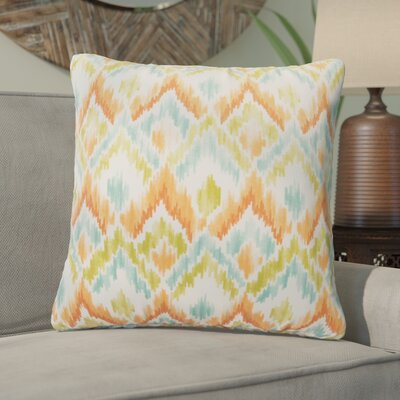 Salina Ikat Outdoor Throw Pillow Color: Green/Blue