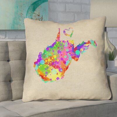 Sherilyn West Virginia Love Watercolor Size: 18 x 18, Type: Throw Pillow
