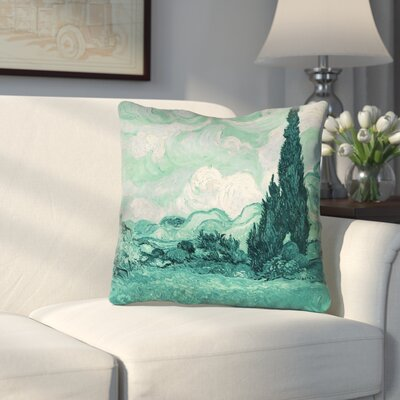 Keating Green Wheatfield with Cypresses Outdoor Throw Pillow Size: 16 x 16