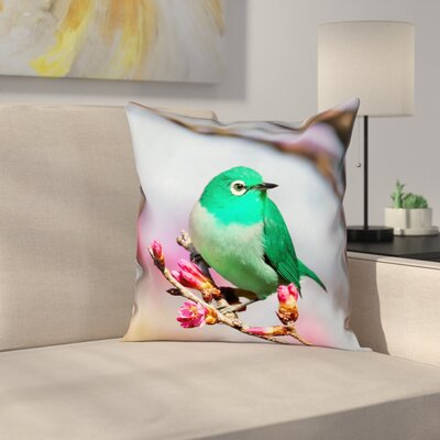 Roughton Green Bird Cotton Pillow Cover Size: 16