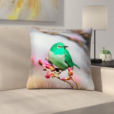Roughton Cottage Square Green Bird Throw Pillow