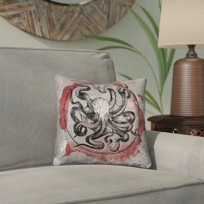 Carpenter Vintage Octopus Throw Pillow Size: 16 x 16, Color: Red