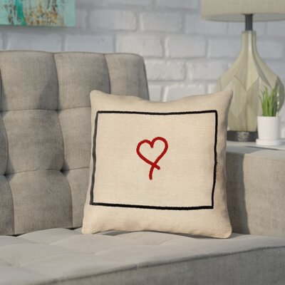 Sherilyn Wyoming Love Outline Size: 16 x 16, Type: Throw Pillow