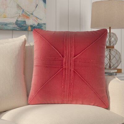 Rafaela Oversized Frayed Linen Throw Pillow Color: Red