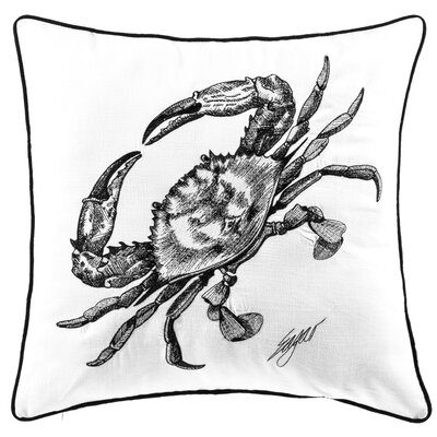 Chartrand Crab Embroidered Cotton Throw Pillow