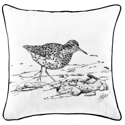 Chason Sandpiper Embroidered Cotton Throw Pillow