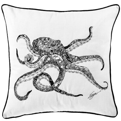 Chartier Octopus Embroidered Cotton Throw Pillow