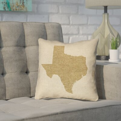 Sherilyn Texas Throw Pillow Size: 16 x 16, Material: Spun Polyester, Color: Brown