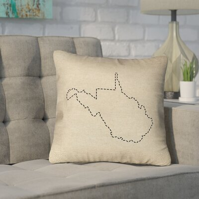 Sherilyn West Virginia Dash Outline Outdoor Throw Pillow Size: 18 x 18