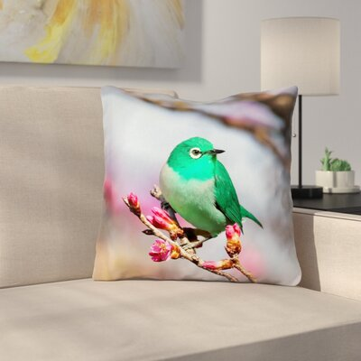 Roughton Square Green Bird Throw Pillow Size: 16