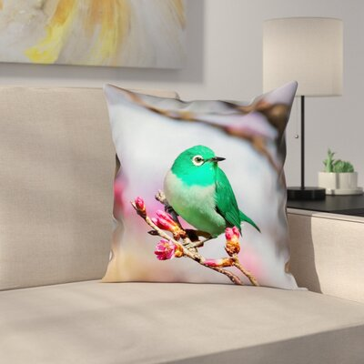 Roughton Square Green Bird Pillow Cover Size: 14 x 14