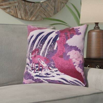 Yasmina Modern Graphic Horse and Waterfall Throw Pillow Size: 16 x 16