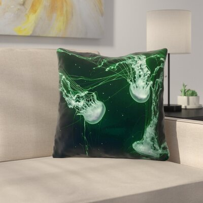 Roughton Square Green Jellyfish Throw Pillow Size: 18 x 18