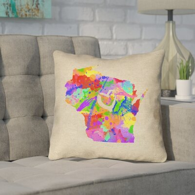 Sherilyn Wisconsin Love Watercolor Outdoor Throw Pillow Size: 16