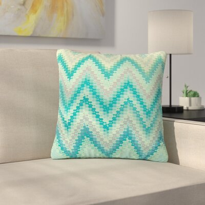 Nika Martinez Seventies Chevron Outdoor Throw Pillow Size: 18 H x 18 W x 5 D, Color: Green