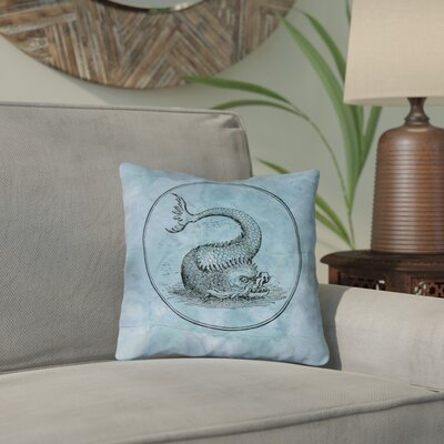 Carpenter Blue Vintage Sea Monster Double Sided Print Throw Pillow