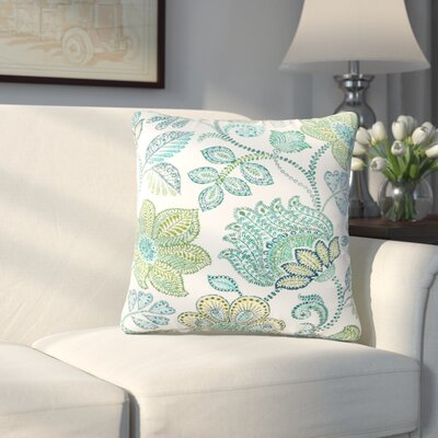 Corliss Floral Outdoor Throw Pillow Color: Green, Size: 18 H x 18 W