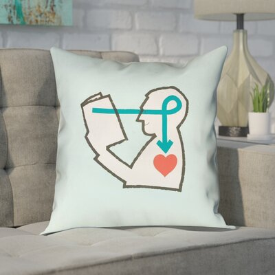 Enciso Reading Love 100% Cotton Pillow Size: 16 x 16, Color: Blue, Type: Pillow Cover