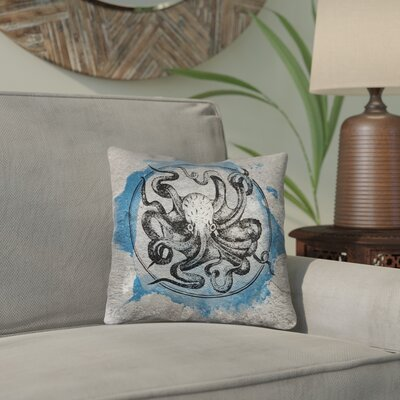 Carpenter Vintage Octopus Throw Pillow Size: 14 x 14, Color: Blue