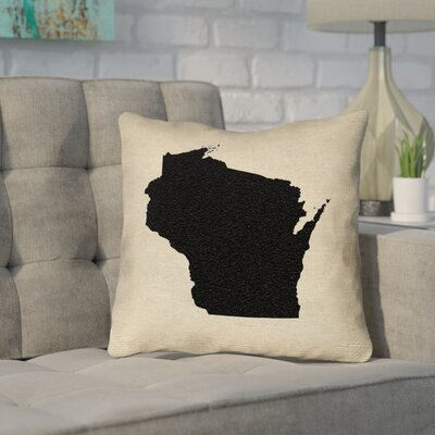 Sherilyn Wisconsin Throw Pillow Color: Black, Size: 20 x 20