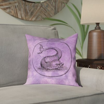 Carpenter Vintage Sea Monster Indoor/Outdoor Throw Pillow Color: Purple, Size: 18