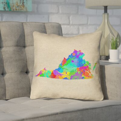 Sherilyn Virginia Outdoor Throw Pillow Size: 18 x 18, Color: Green/Blue