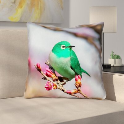 Roughton Square Double sided Green Bird Throw Pillow