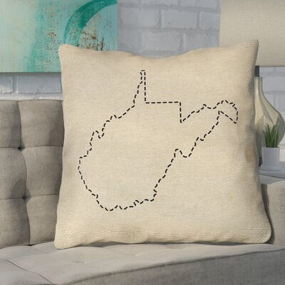 Sherilyn West Virginia Dash Outline Size: 14 x 14, Type: Throw Pillow