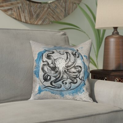 Carpenter Vintage Octopus Outdoor Throw Pillow Color: Blue, Size: 20 x 20