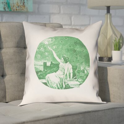 Enciso Red Vintage Goddess Outdoor Throw Pillow Color: Green, Size: 18 x 18