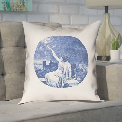 Enciso Red Vintage Goddess Outdoor Throw Pillow Color: Blue, Size: 16 x 16