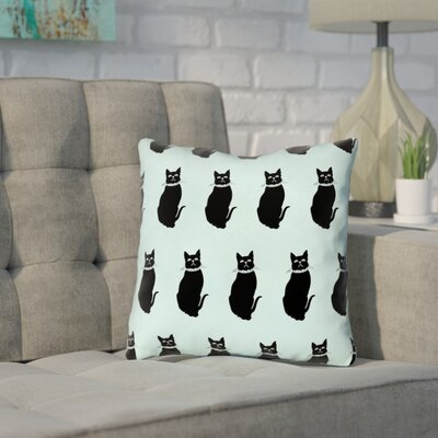 Pecora Cat Pattern Throw Pillow Size: 16 x 16, Color: Blue