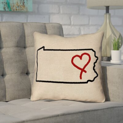 Sherilyn Pennsylvania Love Outdoor Throw Pillow Size: 16 x 16