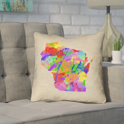 Sherilyn Wisconsin Throw Pillow Color: Blue/Green, Size: 16 x 16