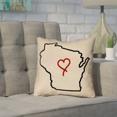 Sherilyn Wisconsin Love Outline Size: 26 x 26, Type: Throw Pillow
