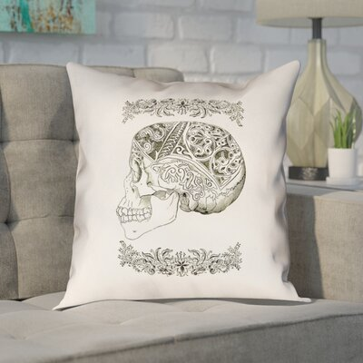 Enciso Vintage Decorative Skull Outdoor/Indoor Throw Pillow Size: 18 x 18