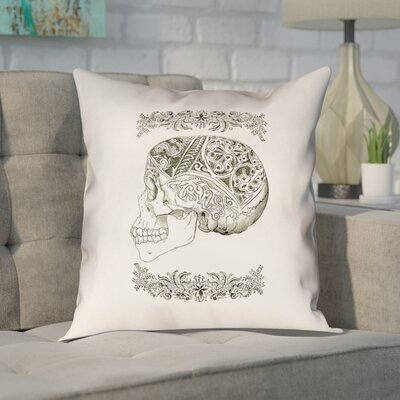 Enciso Vintage Decorative Square Skull Throw Pillow Size: 14 x 14, Type: Throw Pillow, Material: Linin