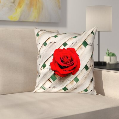 Hansard Fence Rose Indoor Throw Pillow Size: 14 x 14, Type: Throw Pillow, Material: Suede