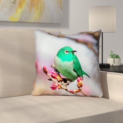 Roughton Green Bird Cotton Throw Pillow Size: 14 x 14