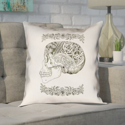 Enciso Vintage Decorative Skull Throw Pillow Size: 14 x 14, Type: Pillow Cover