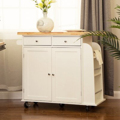 Courtland Kitchen Island with Rubberwood Top