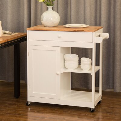 Courtois Kitchen Island with Rubberwood Top