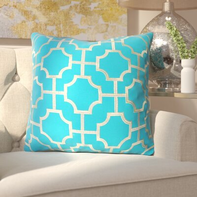 Allbright Embroidered Geo Throw Pillow Color: Caribbean Sea/Gold