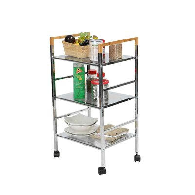 3 Tier Mobile Metal Top Kitchen Cart