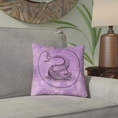 Carpenter Vintage Sea Monster Throw Pillow Size: 26 x 26, Color: Purple