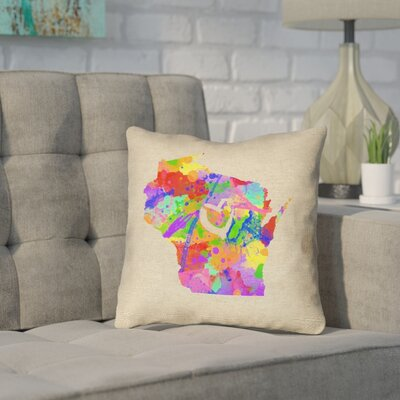 Sherilyn Wisconsin Love Watercolor Size: 18 x 18, Type: Throw Pillow